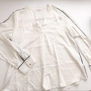 Calvin Klein flowy semi sheer blouse off white